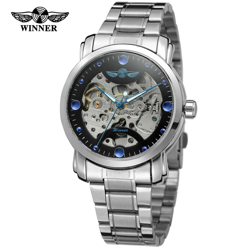 Winner Blue Ocean Fashion Casual Designer Stainless Steel Men Skeleton Watch Mens Watches Top Brand Luxury