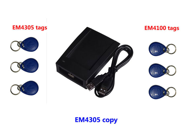 Free shipping, RFID 125Khz Copier reader with software , ID Card Copy writer + 3pcs copied EM4305 Tag+3pcs EM4100 tags,min:1pcs