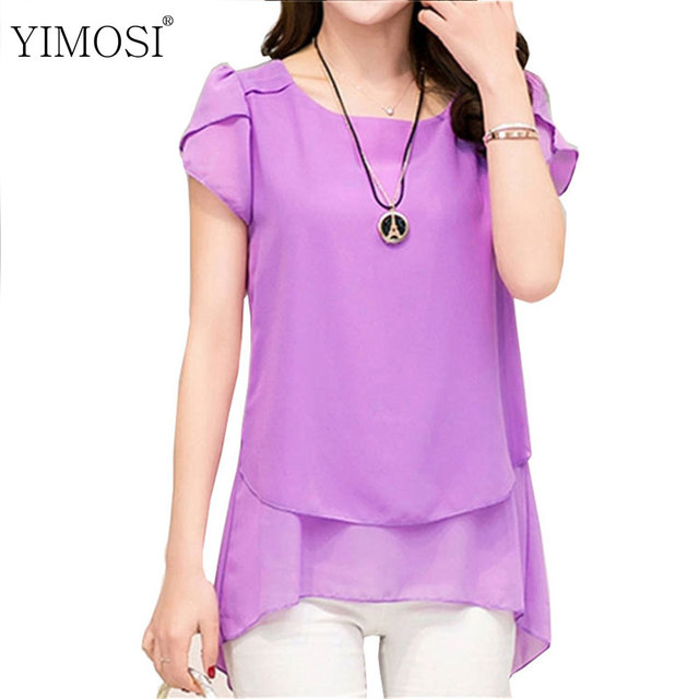 7ce943f904a Summer Blouse Women Chiffon Shirts 2019 Korean Short Sleeve Blouse Casual  Loose Female Tops Plus Size 5XL Chiffon Blouses Shirt