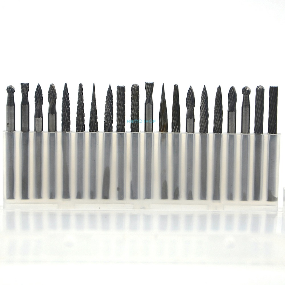 1set (20pcs) 3x3mm Tungsten Carbide Cutter Rotary Burr Shank CNC Engraving Bit