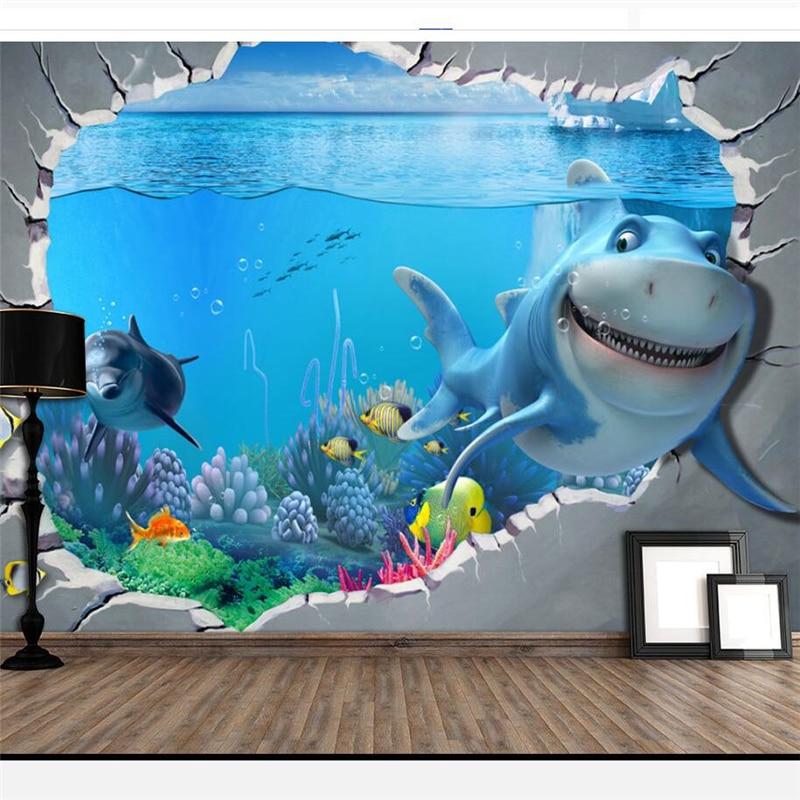 Beibehang papier peint papier peint pour murs 3 d papier peint personnalisé chinois sous-marin monde enfants dessin animé fond mur