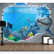 beibehang  papier peint wallpaper for walls 3 d Custom Chinese underwater world children cartoon background wall