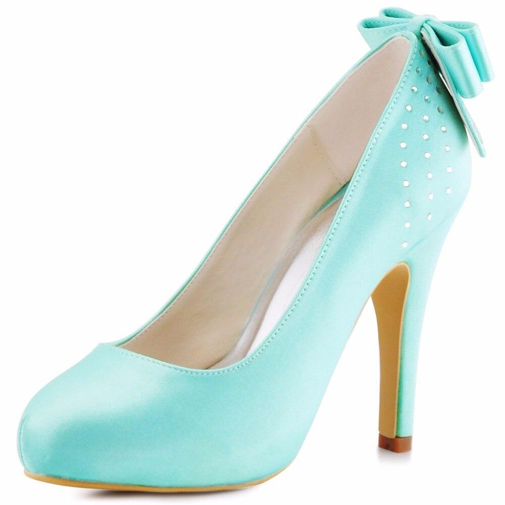 Woman Pumps High Heel Wedding Bridal Shoes Mint green Rhinestones ...
