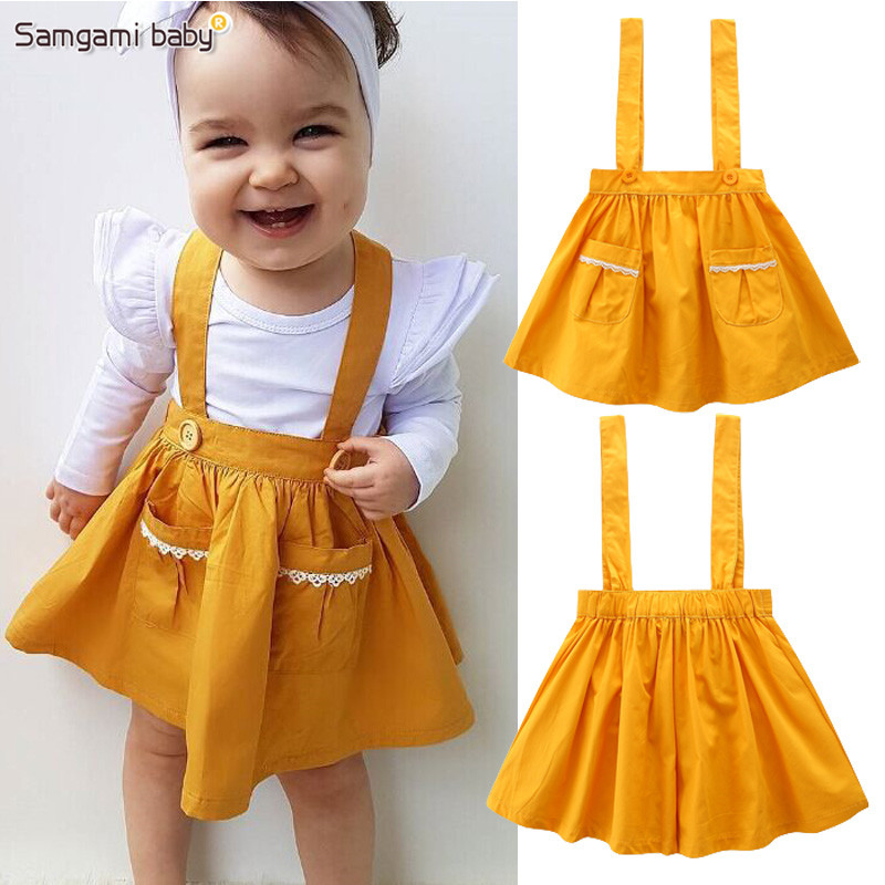 SAMGAMI BABY Deep Yellow Suspender Skirt for 1-5Y Girls,Photography Props,Comfortable Skirts kids Girls Clothes Novelty Style