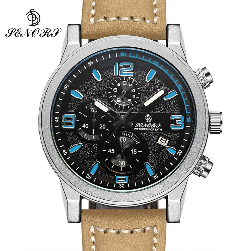 Relogio Masculino Mens Watches Top Brand Luxury SENORS Men Military Sport Luminous Wristwatch Chronograph Leather Quartz Watch  mens watches top brand luxury jedir quartz watch chronograph luminous clock men military sport wristwatch relogio masculino