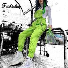 Fitshinling Fluorescence neon green jumpsuits women summer chain cargo playsuit