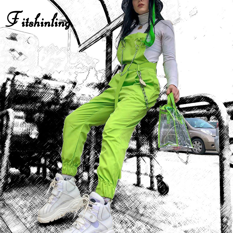Fitshinling Fluorescence Neon Green Jumpsuits Women Summer Chain Cargo Playsuit Fashion Slim Cotton Buckle Long Jumpsuit Female