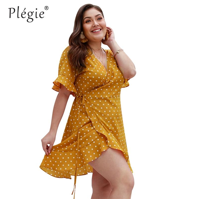 Женское платье в горошек Plegie, XL-4XL облегающее платье с v-образным вырезом и коротким рукавом, лето 2019