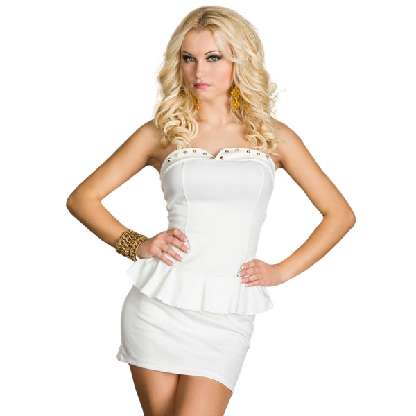 LA17854 High Quality New Fashion Off Shoulder Strapless Women Sexy White  Office Lady Peplum Dress a2c0aacd9a27
