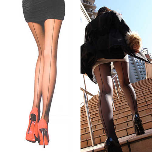 4fe52f1682b ... Sexy Women s Ultra Sheer Transparent Line Back Seam Tights Stockings  Pantyhose ...