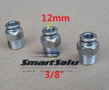 """Envío gratis 10 unids/lote 12 MM tamaño del tubo 3/8 """"rosca de acero inoxidable push-in accesorios de tubería roscada neumática accesorios"""