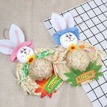DIY Easter Decoration Straw Hat Rabbit Door Hanging Wreath Home Wall Window Garden Decor Party Easter Ornament Accessory