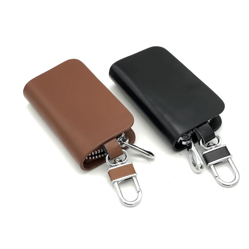 JEAZEA Car Geniune Leather Key Holder Organizer Case Key Wallet Pouch Men Keychain Women For VW