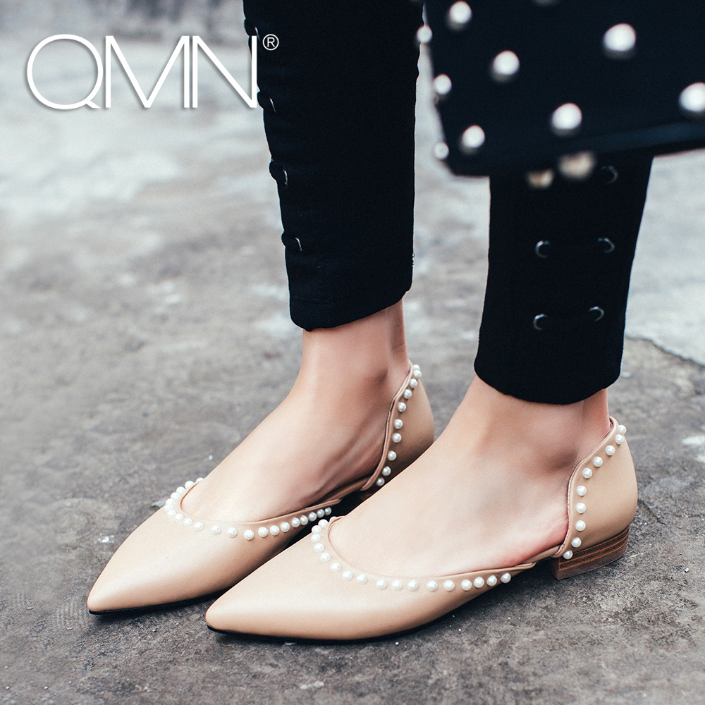 QMN women genuine leather flats Women Faux Pearl Embellished D'orsay Flats Slip On Summer Leisure Shoes Woman Flats 34-43 qmn women crystal embellished natural suede brogue shoes women square toe platform oxfords shoes woman genuine leather flats
