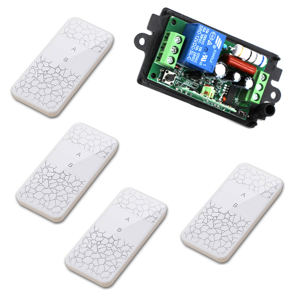 AC 220V Wireless Remote Control Switch AC 110 Radio Controller Switch 10A Relay 1 Ch Receiver + 4 Transmitter 315/433Mhz