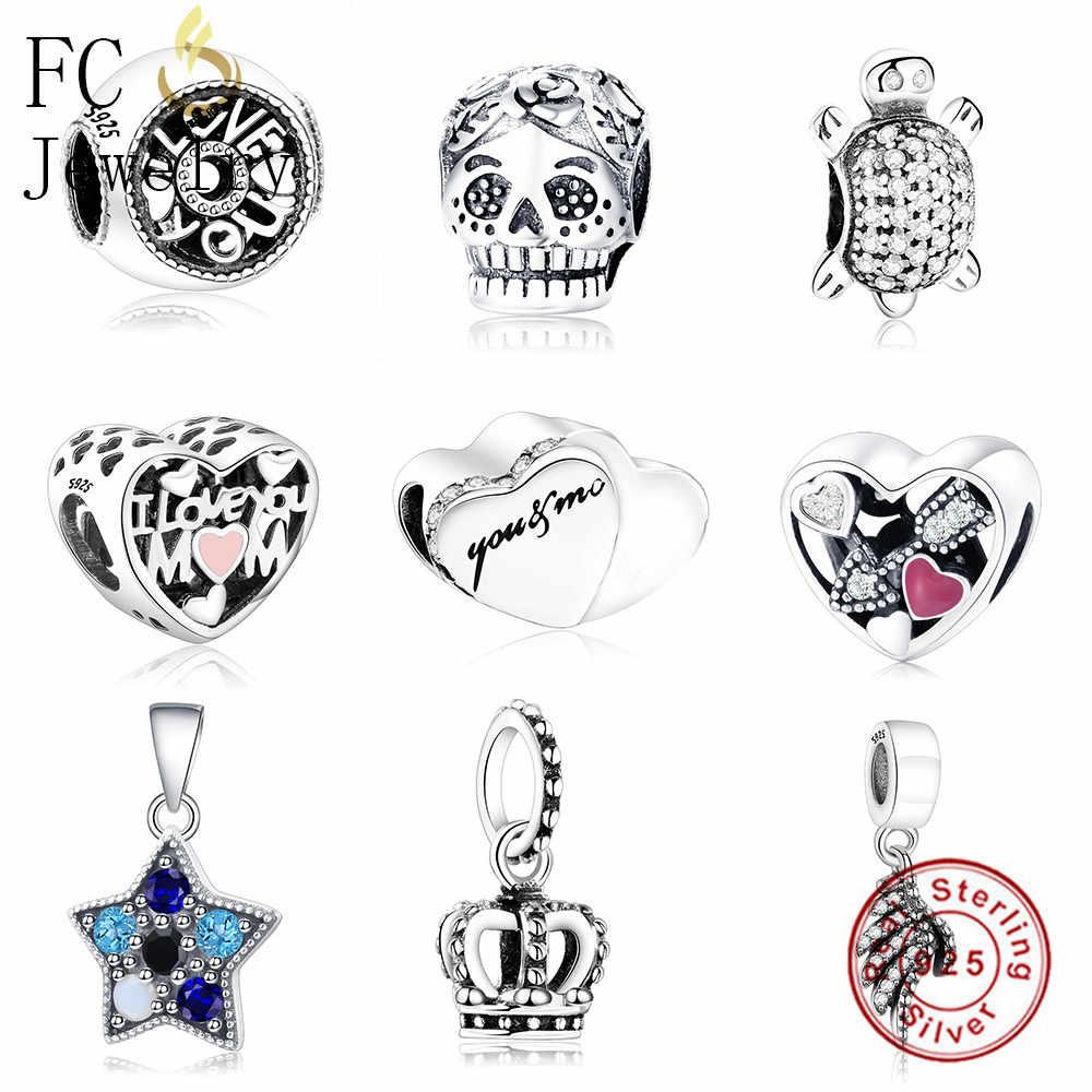 FC ювелирные изделия подходят оригинальный Pandora талисманы браслет 925 пробы серебро рак груди лента надежды семья мама бисера для женщин DIY Berloque