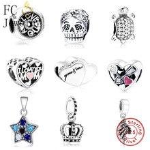 FC joyería Original Pandora encantos pulsera de plata de ley 925 de cáncer de mama que cinta familia mamá de mujeres DIY Berloque