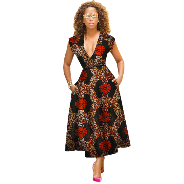4c658e9ae22 summer traditional african clothing women africain Vintage Maxi Dress v-neck  africa dress dashiki short sleeve part dress WY2750