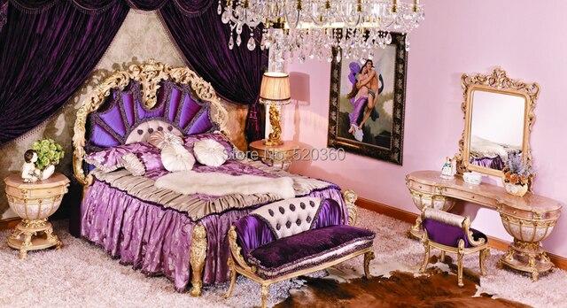 Camere Da Letto Viola : Stile europeo di lusso sculture in legno camera da letto viola set
