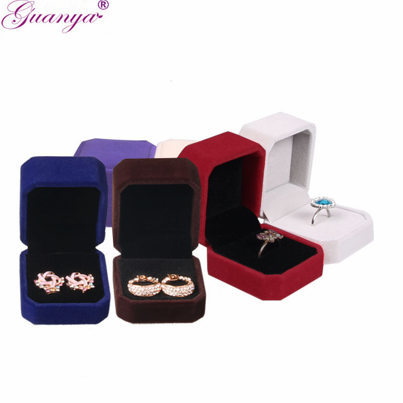 Guanya 10PCS/LOT High Quality Square Velvet Engagement Wedding Earring Ring Box Jewelry Display Storage Case Gift boxes 8 Colors