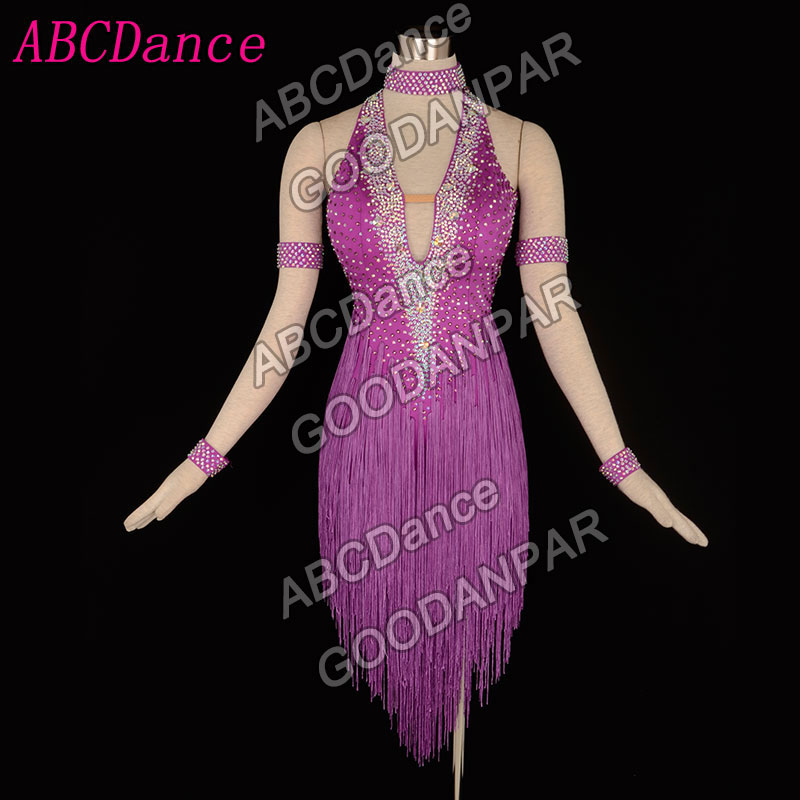 Adult women Latin dance dress, ChaCha Rumba Samba Tango Fringed Backless dance dress sexy professional dance costumes