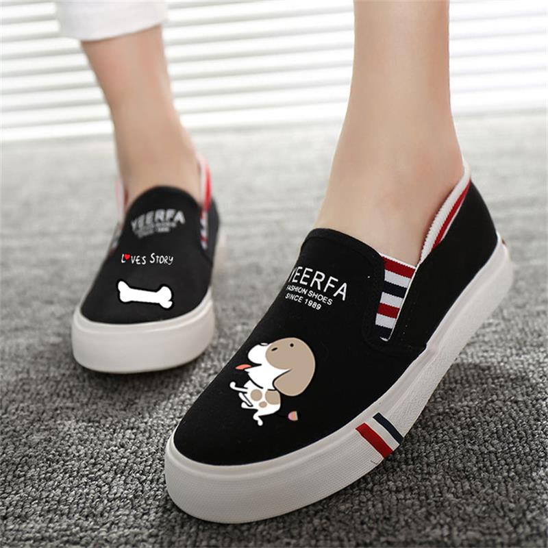 2018 Fashion Animals Prints Summer Women Vulcanize Shoes Slip on Ladies Canvas Casual Shoes Female Flat Women Footwear DC61 sweet women high quality bowtie pointed toe flock flat shoes women casual summer ladies slip on casual zapatos mujer bt123