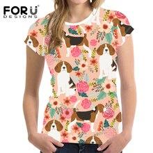FORUDESIGNS Cartoon Beagles Pet Dog Print T Shirt Women Flower Pattern T-Shirt Teenagers Cute Puppy Teen Shirt for Girls Tees susan mccullough beagles for dummies