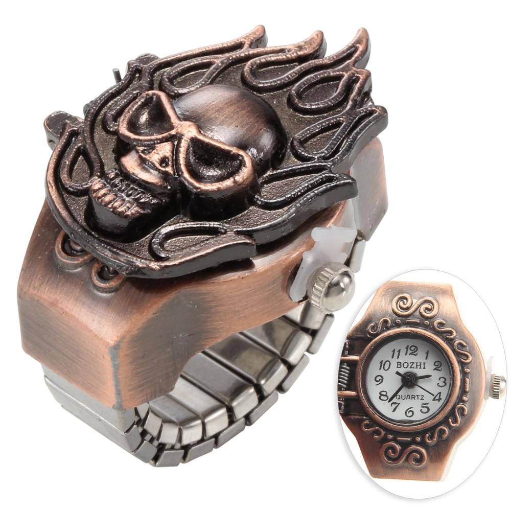 Creative Gold Lover's Watch Round Dial Quartz-Watch Women Men Steel Cool Elastic Quartz Analog Finger Ring Watch 2018 Hot Sale