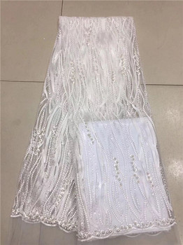 Beautiful beaded white French tulle net lace fabric for lady dress PDN56(5yards/lot) many color