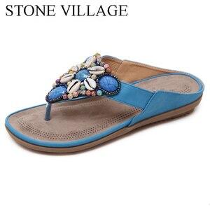 Image 4 - 여름 신발 보헤미아 캐주얼 신발 문자열 비드 플립 플롭 플랫 여름 여성 신발 야외 비치 슬리퍼 여성 슬리퍼