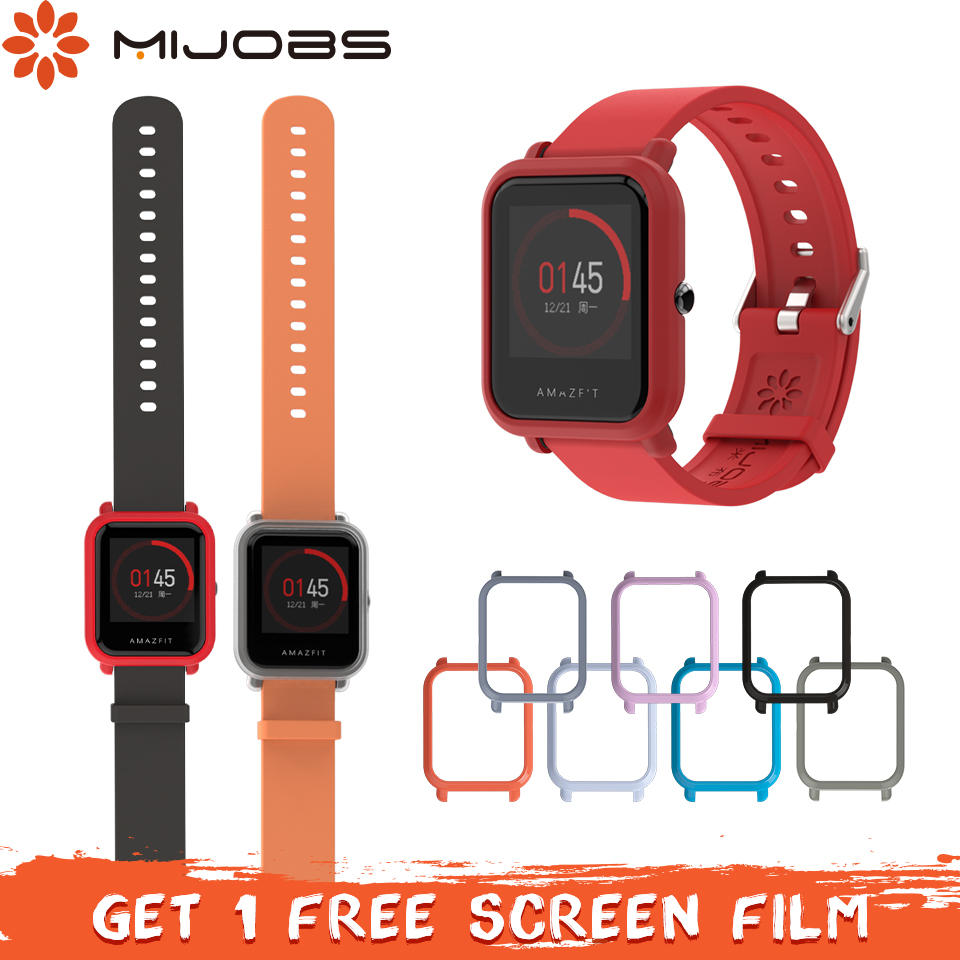 Mijobs 20mm Silicone Wrist Strap Protector Case Cover For Xiaomi Huami Amazfit Bip BIT PACE Lite Youth Smartwatch Bracelet Strap