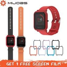 Mijobs 20mm 실리콘 손목 스트랩 보호대 케이스 커버 xiaomi huami amazfit bip bit pace lite 청소년 smartwatch 팔찌 스트랩
