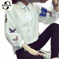Blanco blusa nuevo 2017 primavera verano de manga larga de la mariposa apliques bordados camisa casual mujeres tops ladies clothing