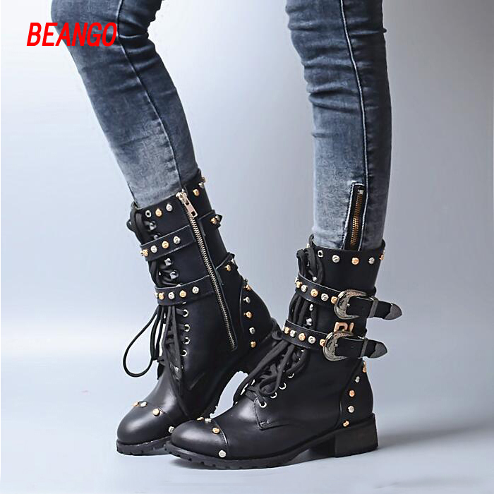 BEANGO Black Leather Mid-Calf Boots Metal Buckle Strap Rivet Women Boots Square Heel Shoes Motorcycle Boots shoes women 2017 beango new handmade martin western boots mid calf genuine leather women pointed toe spike heel vintage buckle strap shoes