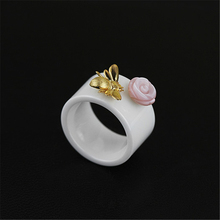 Lotus Fun Real 925 Sterling Silver Natural Handmade Fine Jewelry Ceramics Ring Cute Bee Kiss from a Rose Rings for Women Bijoux