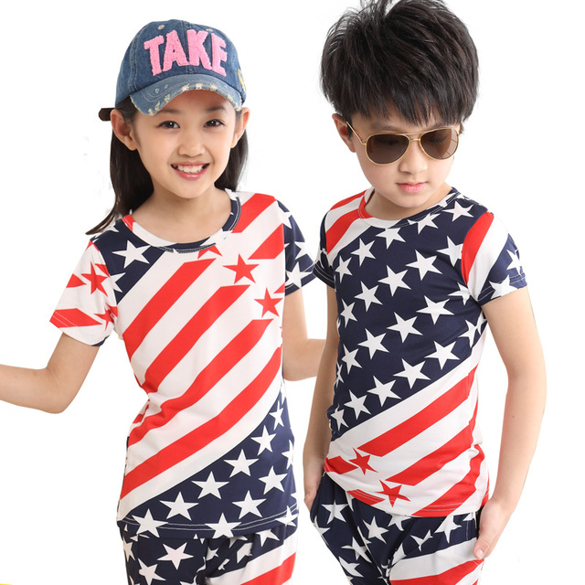 17b0cfcda5be Fourth 4th of july clothing USA American flag Patriotic Outfits for juniors kids  children sports suit big boys girls clothes set