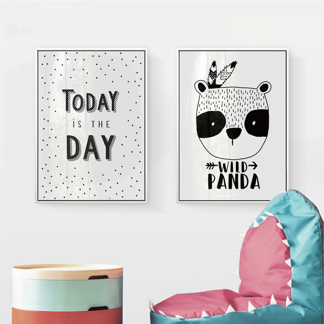 Black White Animal Panda Bear Nursery Canvas Art Posters And Prints Painting Wall Pictures Children Baby