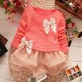 Los Bebés de La Princesa Niños Vestido de Partido Del Cordón Del Bowknot Vestidos Niños ropa de Niña de las Flores 67