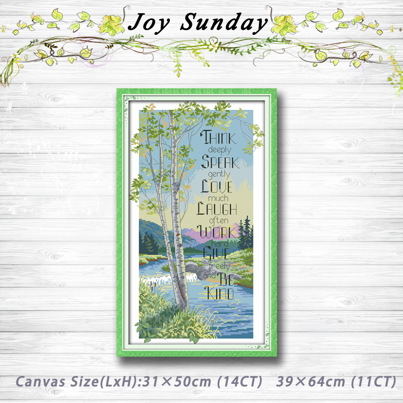 Philosophical tree river scener painting 14CT 11CT counted cross stitch kits embroidery set Needlework Set chinese cross stitch
