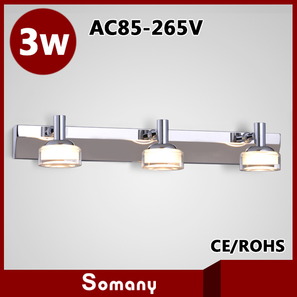 ФОТО 2014 High Quality Bathroom Stainless Steel 460mm 3 Heads Frosted Crystal Lampshade 3W Led Wall Lamp Mirror Light Decor Sconce