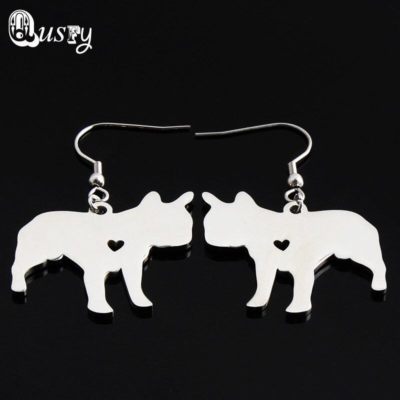 Trendy French Bulldog Boston Terrier Akita Cocker Spaniel Doberman Pinscher Yorkie Dog Earrings Drop Stainless Steel Jewelry