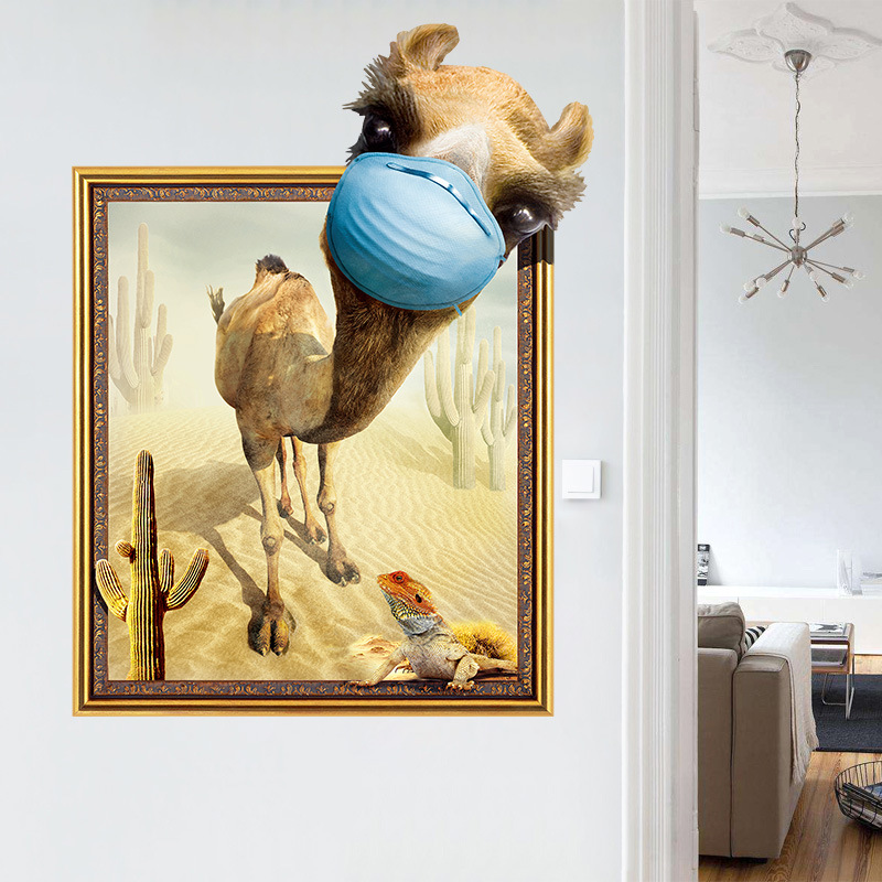 PVC 3D Desert Camel Frame Wall Sticker Removable Wallpaper Self ...