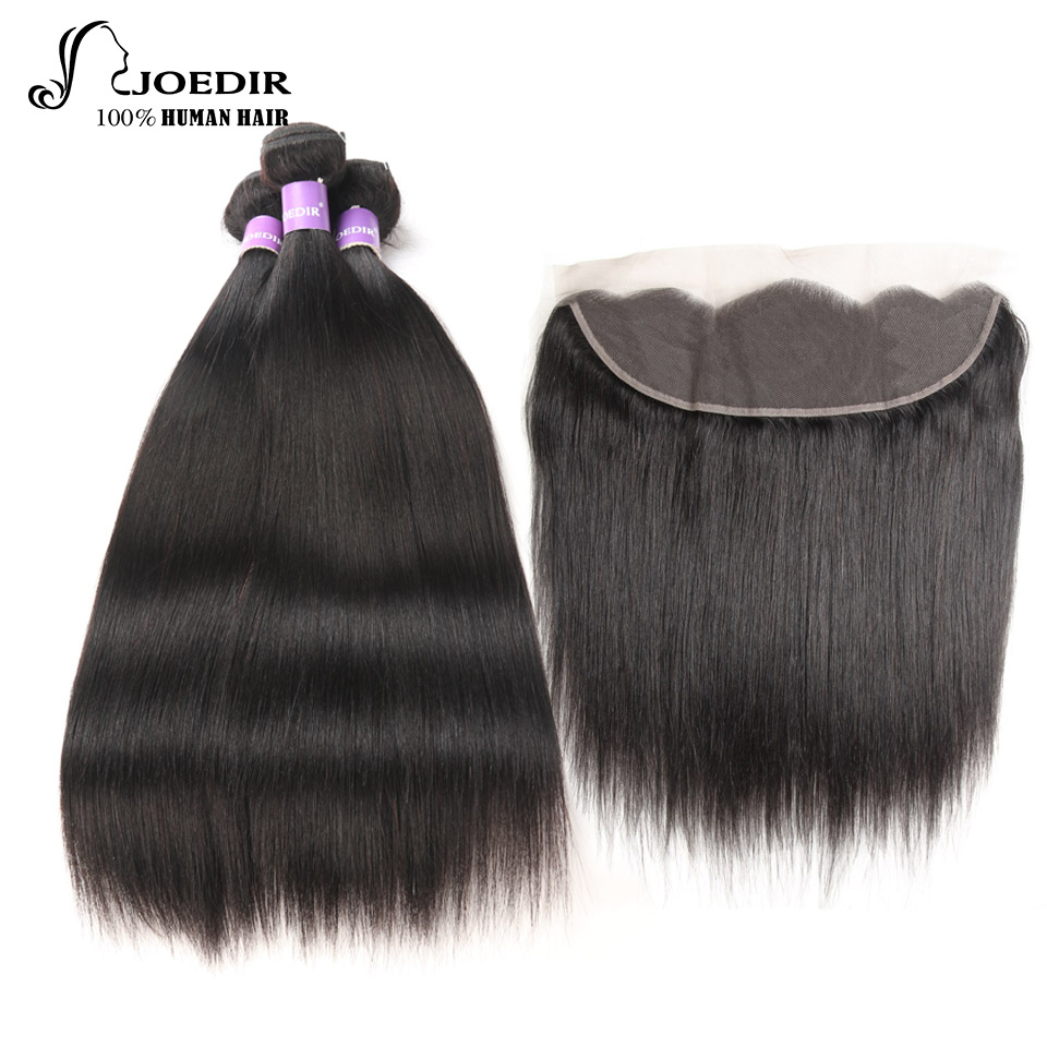 Joedir Indian Straight Human Hair Bundles with 13 X 4 closure Non-Remy 3 Bundles Deal with Lace Frontal Free Shipping