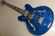 New ES Semi Hollow Body 4 String Electric Bass In Blue Burst