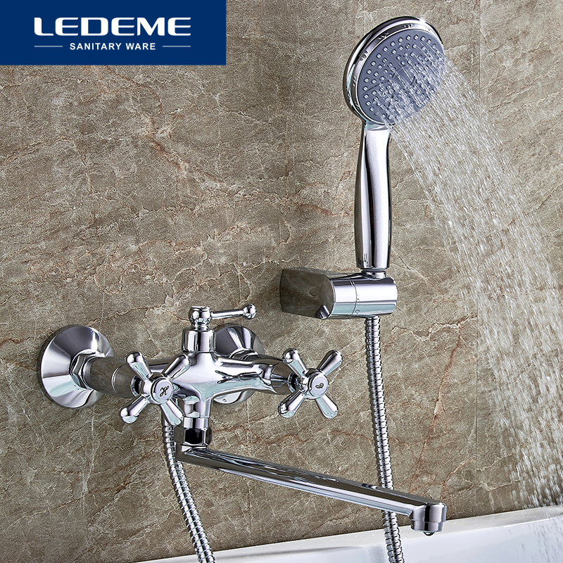LEDEME Concise Style Bathroom Bathtub Faucet Bath Faucet Mixer Tap With Hand Shower Head Shower Faucet Set Wall Mounted L2518 ledeme bathtub faucet modern style bath faucet in wall waterfall mixer tap bathtub crane bathroom shower faucet set l2619