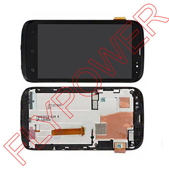 For HTC Desire V T328W LCD display touch screen digitizer with frame full assembly 100% guarantee black By Free Shipping for htc desire 816g lcd screen display with touch screen digitizer assembly by free shipping 100