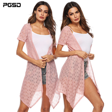 PGSD New Summer Simple fashion Womens clothes Pure color Loose Irregular beach sunscreen lace Thin Short sleeve cardigan female