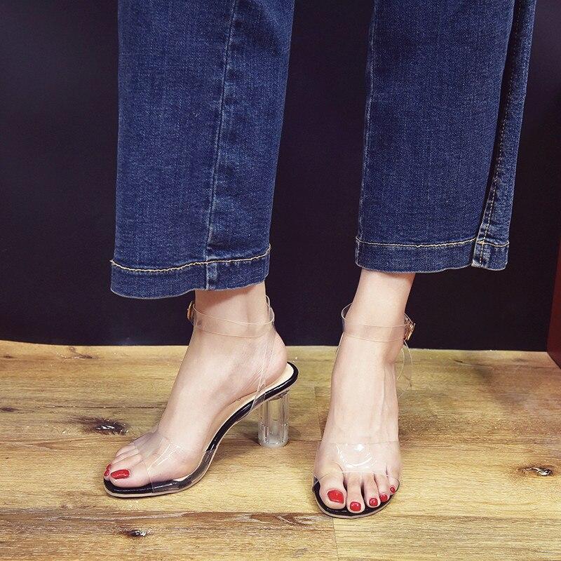 HTB16 YObED.BuNjt h7q6yNDVXae MeiLiKeLin Clear heels Transparen Crystal Sandals Women Shoes Round Heel Womans Waterproof Beach Sandales lady high heels Summer