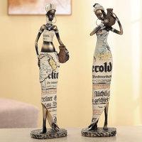 Creative African Lady Resin Figurine Handmade Decorative Art Craft Dolls Ornament For Home Decoration Sculpture Figurines