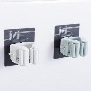 Image 2 - 1 pc 자기 접착제 벽 후크 홈 부엌 후크 흡입 컵 빨판 벽 마운트 걸레 주최자 브러시 옷걸이 욕실 액세서리